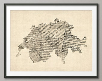 Switzerland Old Sheet Music Map, Art Print (630)