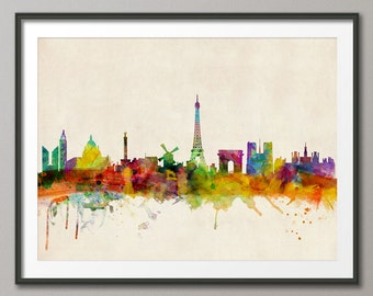 Paris Skyline, Paris France Cityscape Art Print (296)