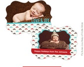 INSTANT DOWNLOAD - Ornate Holiday Card Template - Baby Joy - E176