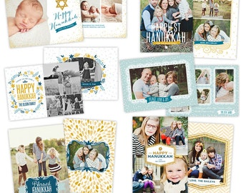 INSTANT DOWNLOAD - Hanukkah Card Photoshop templates - Hanukkah Lights - e956