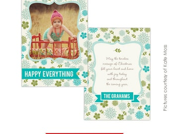 INSTANT DOWNLOAD - Holiday Card Photoshop Template - Festive Flowers - E222