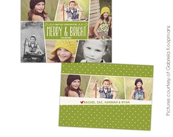 INSTANT DOWNLOAD - Christmas Card Photoshop template - Funky Pics - E562