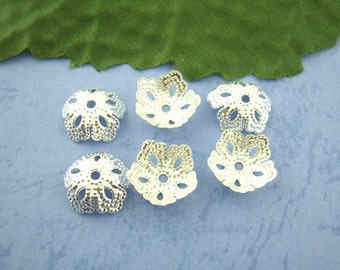 20 Bead Caps Silver Plated Iron Filigree 14 x 5 mm - bc126