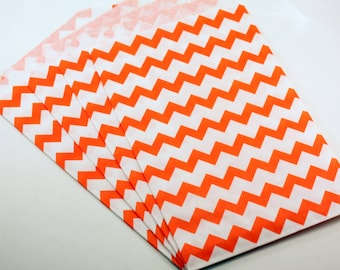 CLEARANCE! 25 Orange favor bags, Orange chevron bags - 5 x 7.5 inch - candy buffet bags . party treat bags . striped orange sacks . birthday