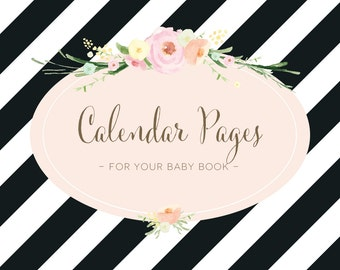 Calendar Pages for your Baby Book