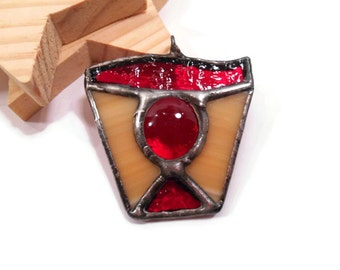 Stained Glass Jewelry Necklace Red Shield Pendant Handmade Red Glass Jewelry Glass and Metal Jewelry Gothic Jewelry  Handmade Necklace