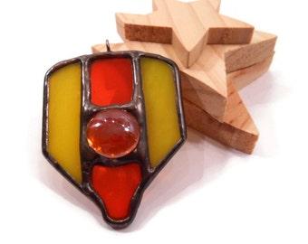 Stained Glass Necklace Pendant Spade Necklace Handmade Jewelry Glass Metal Jewelry  Orange Yellow Pendant Statement Jewelry Shield Necklace