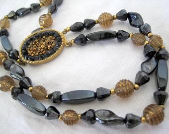 Black Necklace -  Hematite Bead - 2 Strand - Decorative Clasp