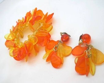 Cha Cha Bracelet Set - Orange Yellow Lucite - Stretch Cha Cha.