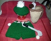 Hand crochet little golfer costume/photo prop for baby