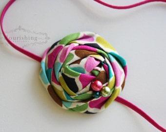 Funky rosette headband, pink headbands, newborn headbands, flower headbands, rosette headbands, photography prop