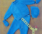 Baby Outdoor Set - Jacket Trousers Mittens & Hats - DK 8ply 20 -24 ins - Ladyship 5028 - pdf of Vintage Knitting Patterns