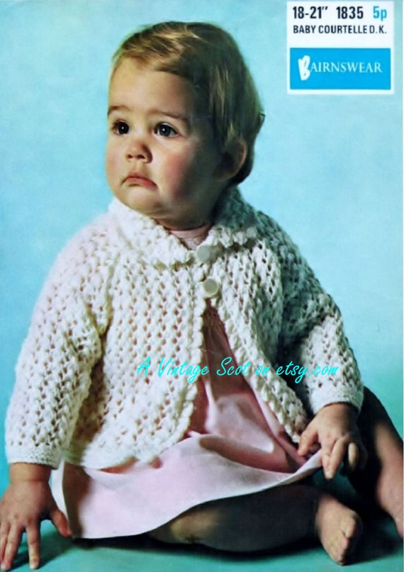 Knitting Pattern Cardigan 8 Ply : Baby / Toddlers Collared Cardigan in DK 8 ply by avintagescot