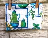 Vintage Kitchen Print Upcycled Zipper Bag with Blue Lining. Stocking Stuffer, gifts under 25, 60's / 50's / Green, Blue, Cream / Teapot
