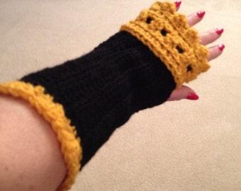 Handmade Crochet Black and Gold Fingerless Gloves