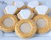 Engagement Ring Decorated Cookies, Wedding cookies, Ring Cookies, Custom Cookies, Gold Cookies, Bridal Shower cookies, Bride-to-be cookies
