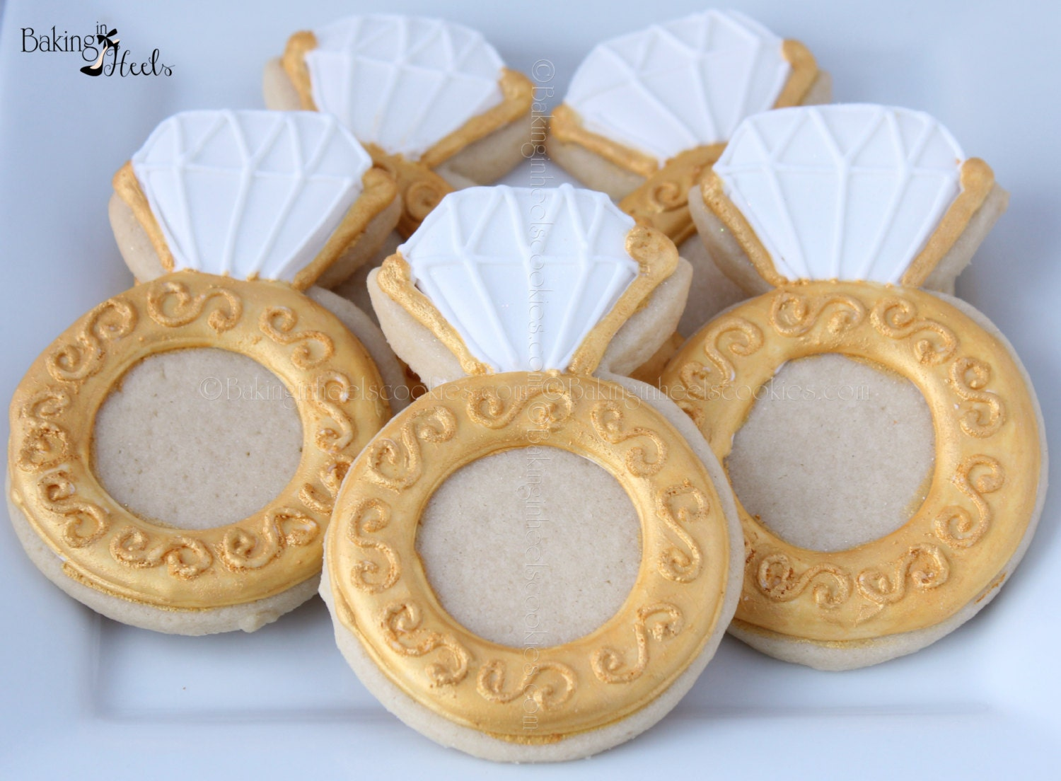 engagement ring decorated cookies wedding cookies ring