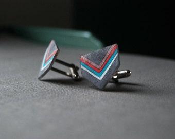 Chevron Cufflinks, Shrink Plastic, Geometric Cufflinks, Arrow, Gray, Red, Teal, Wearable Art, For Him, Gift for Men