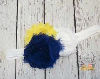 Royal Blue White Yellow Baby Headband - Newborn Girl Shabby Chiffon Flower Elastic