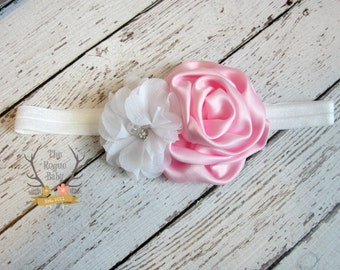 Pink & White Baby Headband - Newborn Infant Toddler Girls Adult - Pastel Pink Satin Rosette White Pearl Rhinestone Chiffon