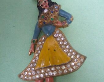 1950s Jeweled Enamel Senorita Brooch
