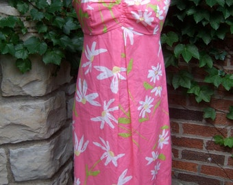 LILLY PULITZER Flower Print Pink Cotton Sun Dress US Size 10