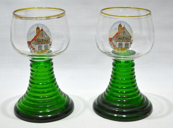 Vintage Bross-Berau Rathaus German Gold Trim Hollow Green Stem Wine Glasses set of two