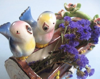 Vintage Ceramic Planter with Pair of Birds Made in Italy