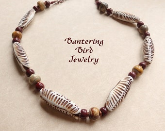 African Necklace, Tribal Necklace, Unique Polymer Clay Pod Beads, Mookaite Jasper, Brown Beaded Statement Necklace, Fall Jewelry