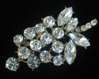 "CLEARANCE 2.5"" x 1.25"" Rhinestone Brooch with Large Quality Stones in Marquis & Round Shapes. 70's Vintage."