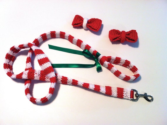 PATTERN - Knit Dog Leash and Bow Tie from ROFLHatFactory on Etsy Studio