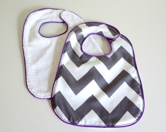 Baby Bib Laminated Cotton Gray White Chevron with Purple Piping