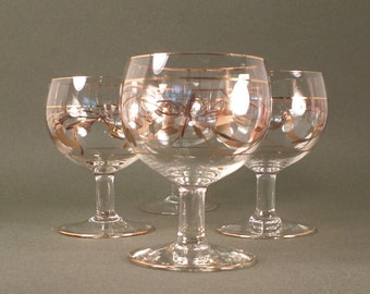 Bubble Stemmed Cordial Glasses With Gold Etchings, Set of 4