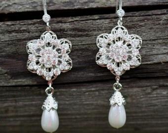 Bridesmaids -Bridal Earrings, Pearl Earrings, Lotus Flower, Romantic Swarovski crystal bridal necklace, Bridal earrings and necklace set.