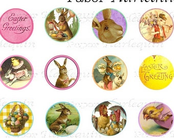 Easter Bottle Cap Set 1 Inch Round Bunnies, Chicks, Eggs for Jewelry, Scrapbooks, Cards, Invites, Decoration