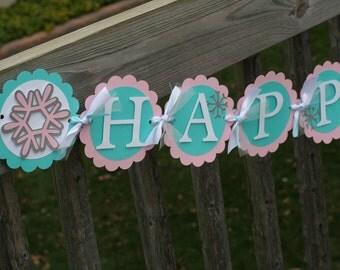 Snowflake Happy Birthday Banner, Snowflake Banner, Winter Onederland Banner, First Birthday, Snowflake Birthday Decorations, Onederland