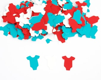 Baby Shower Decoration - OnePiece Confetti - Turquoise and Red