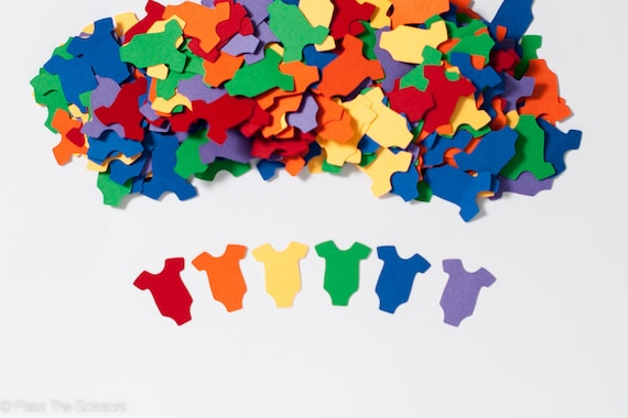Rainbow baby shower rainbow confetti baby shower for Baby confetti decoration