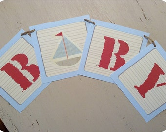 Nautical Alphabet / Baby Block Baby Boy Banner - ALL Letters & Numbers Available