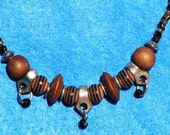 NECKLACE NATURAL BROWN Earthy Wooden Balls and Silver Beads