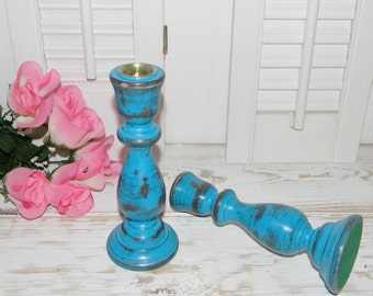 Turquoise Candle holders Set Wood Candlesticks CLEARANCE SALE