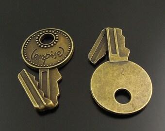 37943 Vintage Bronze Tone Alloy Flod Key Charm Pendant Jewelry Finding 15pcs