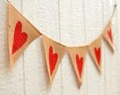 red HEARTS Burlap Valentine's Banner