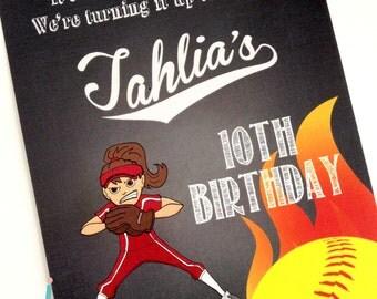 Softball PRINTED Invitations with Envelopes