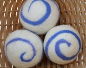 Set of 3, Hand- Felted 100% Wool Dryer Balls. Extra Large, Periwinkle Swirl.