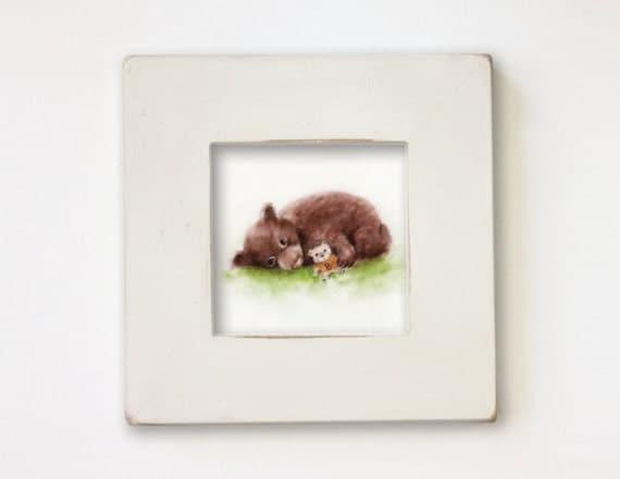 Bear Nursery Art, Baby Boy Nursery, Kids Wall Art, Shabby Chic Nursery,