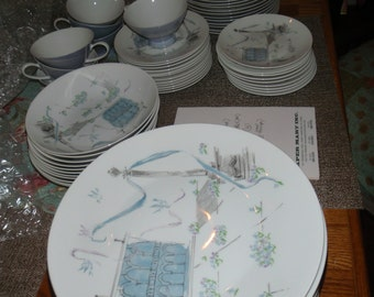Rosenthal China Set 12 (almost) NEW/MINT Plaza Design by Raymond Loewy 1950's Germany