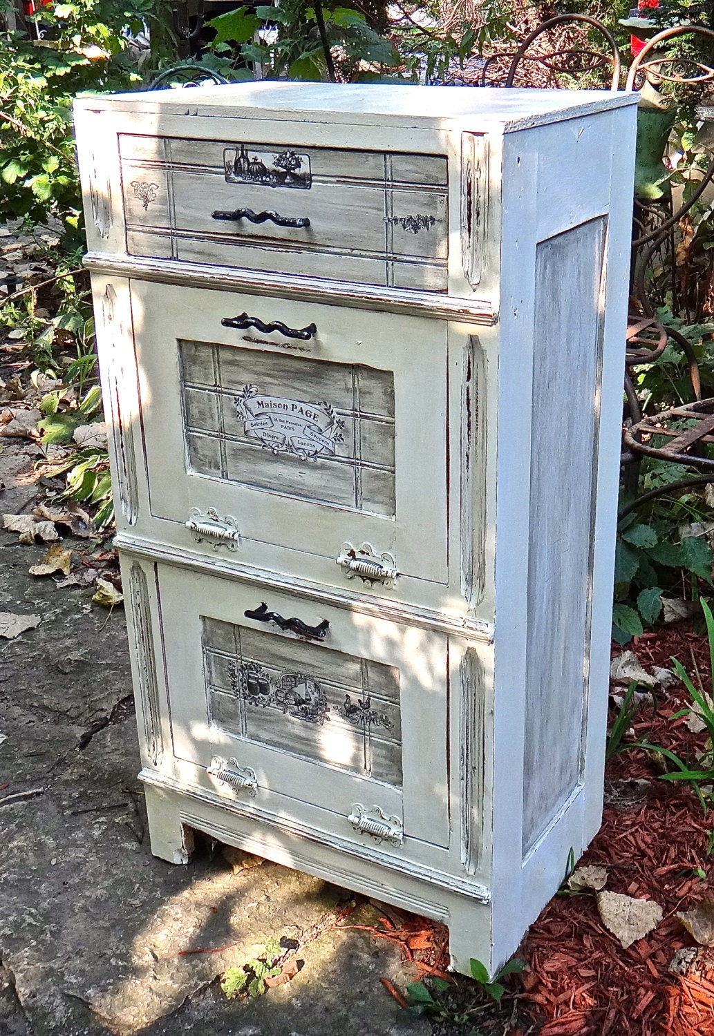 potato bin vegetable bin onion bin decoupaged furniture. Black Bedroom Furniture Sets. Home Design Ideas