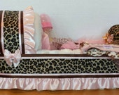 Loaded BIG cheetah print girl diaper bassinet baby shower gift basket monkey layette set