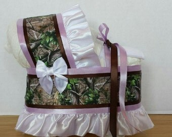 Lilac brown camo camouflage girl diaper bassinet baby shower gift table decoration
